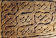 Interlace panel from the Govan sarcophagus, carved for the bones of St Constantine, c. 900 AD