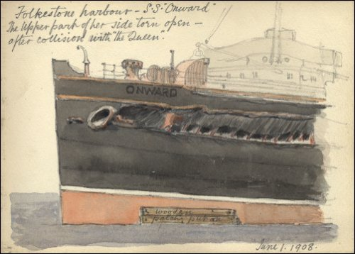 "Coloured sketch of the damage to the 'Onward' titled ""Folkestone harbour - SS 'Onward'.  The upper part of her side torn open after collision with the 'Queen', June 1 1908.""  (GUAS Ref: UGC 195/2/7. Copyright reserved.)"