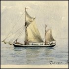 Coloured sketch of a sailing ship, Dover, June 1908.