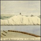 Coloured sketch of the south foreland of Dover with the lighthouse in the background titled