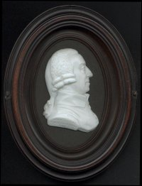 A glass paste sculpture relief medallion of Professor Adam Smith, designed by the Scottish engraver James Tassie, 1789.  Inscription on the base of the cameo says