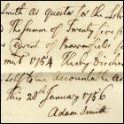 Adam Smith's receipt for money from Barrowfield's fund, 28th January 1756. (GUAS Ref: GUA 58171, see also GUA 58174, GUA 58173 and GUA 19572. Copyright reserved.)