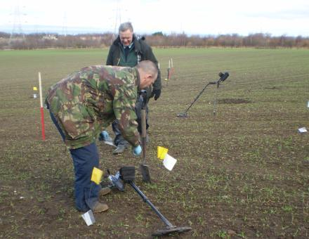 Metal detectorists from SARG assisting the Centre in a MD survey as part of the Battle of Prestonpans project