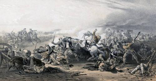 Painting depicting the death of Colonel Gardiner at the Battle of Prestonpans