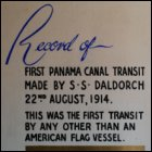 The title page of a scrapbook commemorating the first Panama Canal transit made by SS Daldorch, owned by J M Campbell & Sons of Glasgow, 22nd August 1914. (GUAS Ref: UGD 55/2/13. Copyright reserved.)