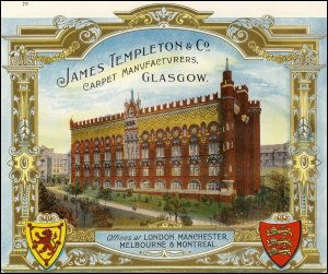 A James Templeton & Co advert as featured in Scotland's Industrial Souvenir, a trade catalogue celebrating the industrial achievements of Scotland and advertising manufacturing companies. (GUAS Ref: UGD 265. Copyright reserved.)
