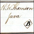 Image of an entry for an order for three batteries of sugar boiling pans to be sent to R W Thomson on Java, January 1862.  The order also includes the shipping mark (the B inside a diamond shape) to be stencilled on the packing cases.  (GUAS Ref: UGD 118/4/1/1 p5.  Copyright reserved.)