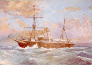 An image of a painting of the Meiji Maru constructed by Robert Napier and Sons, shipbuilders, Govan in 1874 for the Japanese government for use in their lighthouse service, 1874. (GUAS Ref: UGD 172/4/2/3. Copyright reserved.)