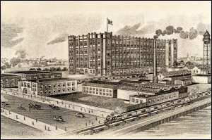 This image is of the J & P Coats' mill in Montreal, Canada, which came into production in 1903.  (GUAS Ref: UGD 199.  Copyright reserved.)
