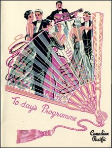 This image is the front cover of the elegantly designed programme for the programme of events on board the Canadian Pacific Line ship Empress of Britain, 22nd August 1957.  This item is taken from the papers of Miss Donaldson who sailed on the Canadian Pacific Line.  (GUAS Ref: ACCN 1821/1/6. Copyright reserved.)