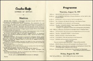 This image details the programme of events on board the Canadian Pacific Line ship Empress of Britain, 22nd August 1957.  This item is taken from the papers of Miss Donaldson who sailed on the Canadian Pacific Line.  (GUAS Ref: ACCN 1821/1/6. Copyright reserved.)