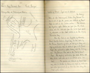 The image shows a page from one of Ferguson's field note books from King Edward's cove, South Georgia, dated 3rd February 1912.  The entry includes a hand-drawn geological map of the area and Ferguson's field notes.  (GUAS Ref: UGC 176/3/1 p54-55.  Copyright reserved.)