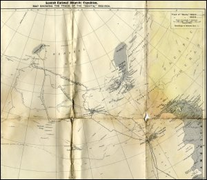 This image shows a hand map showing the track of the Scotia during the Scottish National Antarctic Expedition, 1902-1904.  This map was produced to accompany a lecture given by W S Bruce, 14th December 1905, at the Athenaeum, Glasgow, which Ferguson no doubt attended.  (GUAS Ref: UGC 176/5/1.  Copyright reserved.)
