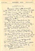 entry from diary for August 1914: MS Gen 1465/5. Links to more information on this manuscript.