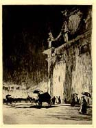 "Etching by Muirhead Bone ""Rainy Night in Rome"": MS Wright B3 - Links to more information on this item."