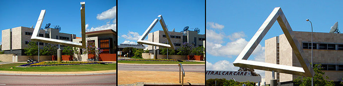 Photos of a sculpture that looks like an impossible figure when seen from the right angle in Perth, Australia
