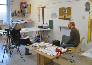 Artist Toby Paterson being interviewed