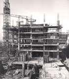 Black and white photograph of Library building under construction, 1966. (Sp Coll Photo A49/51) Links to book of the month article.