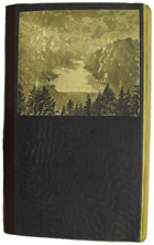 Black cover with image of forest and mountains pasted on. (MS Morgan 917/1)