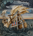 Miniature depicting a galleon being wrecked in a storm. From