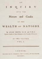 Title page of Adam Smith's Wealth of Nations, published 1776. (Sp Coll Mu6-y20) Links to web exhibition.