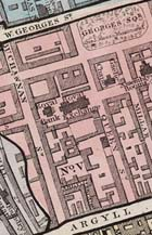 Map of Glasgow showing detail of city centre around George Square, bordered by Buchanan Street, West George Street and Argyle Street, 1844. (Sp Coll Mu26-a.29) Links to book of the month article.