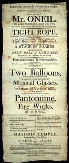 Poster printed by Bell and Son to promote a performance of the Olympic Circus in Ingram Street, Glasgow, 1804. (Sp Coll Eph E63) Links to web exhibition on ephemera.