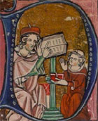 Historiated initial from a 14th century manuscript showing a disciple sitting before the Roman philosopher, Seneca, as he teaches from his open book. (MS Hunter 231, p 123) Links to the book of the month article.