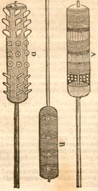 Illustration of 3 fire-lances from a section on fireworks in John Bate's Mysteries of Nature and Art, 1635. (Sp Coll Ferguson Ai-b.53) Links to book of the month article.