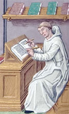 Colour illustration showing a monk writing at a desk, from Ludolph of Saxony's Vita Christi, an illuminated manuscript produced in Paris, 1490s. (MS Hunter 38 fol 47v) Links to book of the month article.