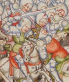 Battle scene showing defeat of King Syphax. Detail of initial letter from 15th century illuminated manuscript of Livy's Roman History. (MS Hunter 370, fol 279v) Links to book of the month article.