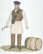 Watercolour drawing of a sledman (someone who moved goods by sledge), standing with whip in hand next to a barrel. From a collection illustrating inhabitants and office-holders of Glasgow, 19th century. (MS Murray 590-594) Links to more information about this item.