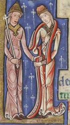 Detail of illuminated letter showing two female nobles (?) from the page for April in the Hunterian Psalter, 12th century (MS Hunter 229, fol 2v)