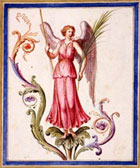 Colour illustration of winged female figure by the engraver and draughtsman Pietro Santi Bartoli, from his Drawings after ancient Roman paintings, Rome, 1674 (MS Gen 1496) Links to book of the month article.