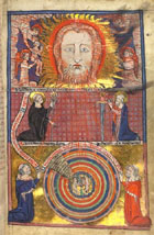 Illuminated full page miniature showing the face of God, angels and saints, accompanying a text on St Benedict's Vision of the Universe, from a 14th century compendium of devotional and philosophical writings. (MS Hunter 231) Links to book of the month article.