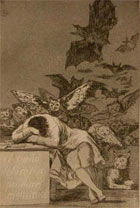 'The sleep of reason produces monsters' Black and white illustration of a man, his face covered and leaning on a desk, surrounded by disturbing images of owls, giant bats and cats. Self-portrait of the artist Goya from 'Los Caprichos', Madrid, 1799 (Sp Coll S.M. 1946) Links to book of the month article.