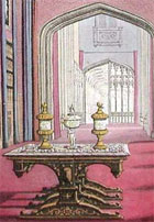 Colour illustration (detail) of a magnificent room known as King Edward's Gallery, from John Rutter's Delineations of Fonthill and its Abbey, 1823 (Sp Coll q63) Links to web exhibition on gothic revival and design.