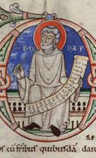 Representation of Bede, author of the History of the English Church and People, in a 12th century manuscript copy of his work 'on the reckoning of time'. (MS Hunter 85) Links to book of the month article.
