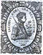 Woodcut image of James VI in profile, aged 14 and holding a sword, printed 1580. (Sp Coll S.M. 1248) Links to book of the month article.