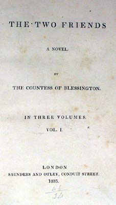 Title-page of Countess of Blessington: The two friends (Sp Coll Z1-h.28-30); links to further information about this book