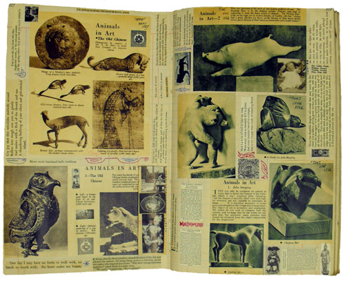 Double page from Scrapbook 1, incorporating magazine cuttings about 'Animals in Art', interspersed with handrawn red ink patterns and cuttings containing quotations and extracts of poems. Some of these are placed crossways. (MS Morgan 917/1, pp 227-8)