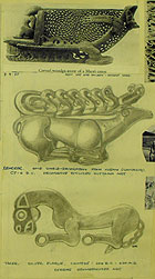 Pencil drawings of two animals, dated 1938. They have been copied from a book and labelled as a reindeer (shield decoration, C7th-6th BC) and a tiger (silver plaque, 206 BC-220 AD). (MS Morgan 917/2, detail of page 38)