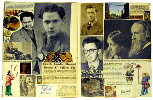 Double page incorporating images of Dylan Thomas, Virginia Woolf and photographs of Morgan, dated 1940 and 1955. (MS Morgan 917/11, pp 2146-7)