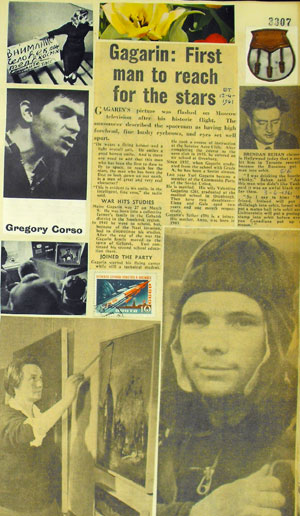 Page including news report of Yuri Gagarin's pioneering voyage into space (1961) and image of the american poet Gregory Corso. (MS Morgan 917/15, page 3307)