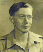 Photograph of Edwin Morgan, labelled 1945, Haifa. During the second world war he served in the Royal Army Medical Corps. (MS Morgan 917/6, page 860)