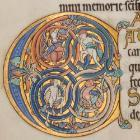 Psalter: f125v (inhabited initial C from 97). Links to book of the month article.