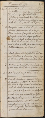 The seventh page from Andrew Service's logbook recording events on board HMS Medusa. This page, dated 1806, covers the period from 7th August to 17th September 1806, and begins with HMS Medusa anchoring in South Africa, north of Cape Town, before sailing to the River Plate, Montevideo, Uruguay and engaging the Spanish. (GUAS Ref: UGC 182. Copyright reserved.)