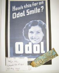 A tube of Odol toothpaste made in Norwich and found during metal detecting survey at No.17 Adam Park
