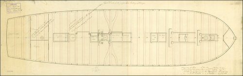 Upper deck plan of HMS Medusa, dated 1800.  Scale is 1:48.  (Image courtesy of the National Maritime Musuem, Plan Ref: ZAZ2969, Image Ref: J5895.  Copyright reserved.)