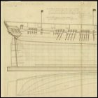 Lines; profile, half breadth and body plan of HMS Medusa, dated 1800. Scale is 1:48.  (Image courtesy of the National Maritime Musuem, Plan Ref: ZAZ2965, Image Ref: J5897. Copyright reserved.)